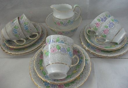 Vintage Bone China Tea set by Plant Tuscan - Grey with Flowers